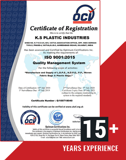 iso certificate-Plastic Bag Manufacturer